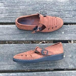 Vtg Dexter Moccasins Buckle Brown Leather Shoes 7